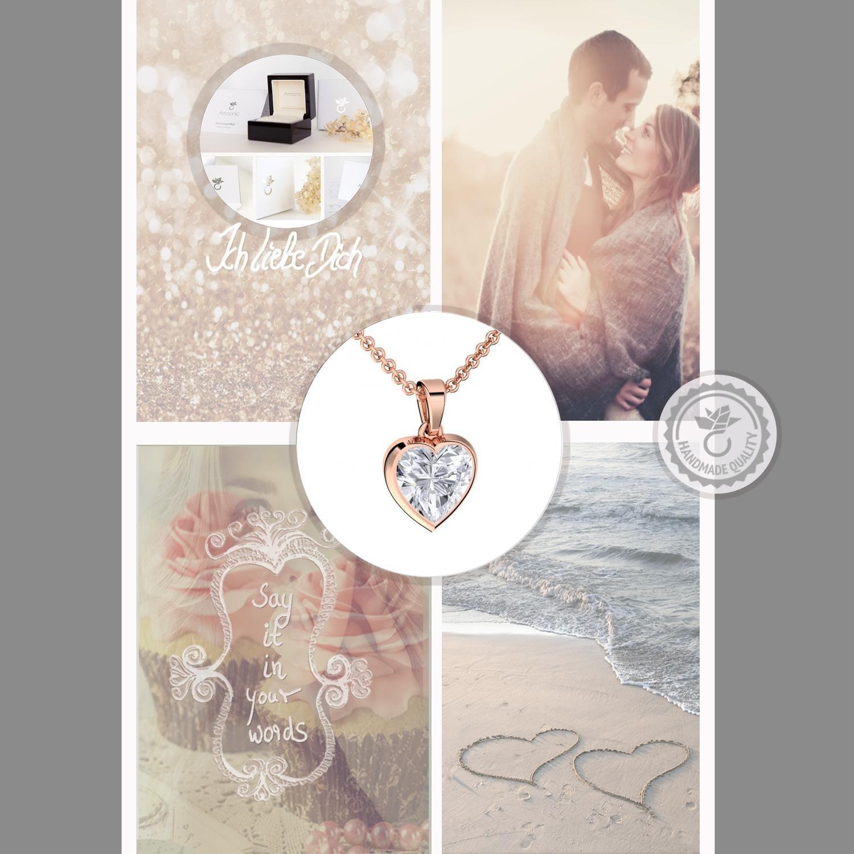 372b8c36a29e Herzkette Rosegold vergoldet Kette Damen Halskette Rose Zirkonia Stein  Damenkette Geschenk Etui mit Gravur Echt Anhänger