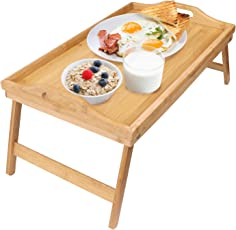 Greenco Bamboo Foldable Breakfast Table, Laptop Desk, Bed Table and Serving Tray, Bamboo