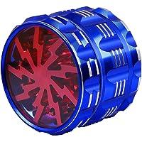 Ausma 4 Pezzi Premium Alluminio Tabacco Erba spezie Grinder con Polline Catcher amp Spazzola di Pulizia  63   48mm  Blu_Rosso
