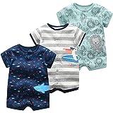 Monos para Bebés Niño 3 Piezas - Verano Pijama de Algodón Mameluco de Manga Corta Animales Pelele para Recién nacido 0-3 Mese