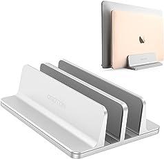 [Neuste Version]OMOTON verstellbarer vertikaler Laptop Ständer, doppelplatzer Ständer für alle Tablet und Notebooks - Perfekt für Macbook, MacBook Air, MacBook Pro, Ultrabook, Lenovo und andere, Doppelplatz, Silber