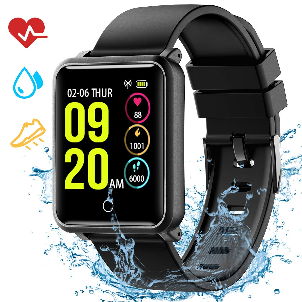 Seneo Smart Watch with Sleep Monitor,Fitness Tracker IP68 Waterproof Level Heart Rate Monitor,Calorie Counter Activity Tracker (1.Black 315)