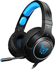 PS4 cuffie gaming, Tenswall Gaming Headphone per Xbox One, PC, Switch, PS4, Tablet, Mobile con LED Light Mic, jack da 3,5 mm stereo con cancellazione del rumore e controllo del volume-Blu