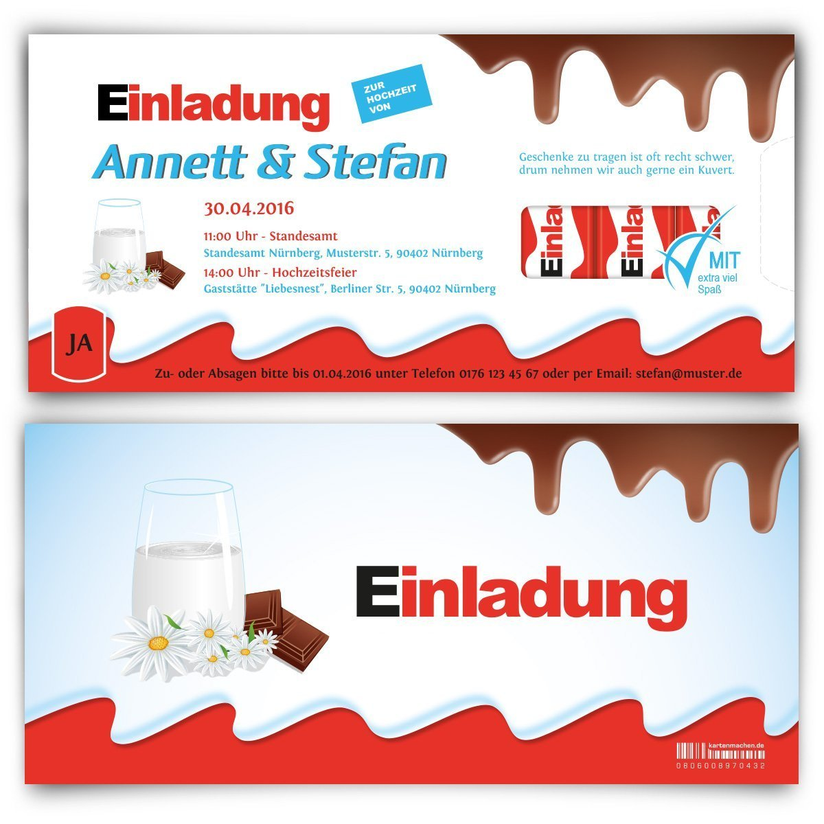 Hochzeitseinladungen (10 Stück)   Schokolade Für Kinder U2013 Einladungskarten  Zur Hochzeit: Amazon.de: Bürobedarf U0026 Schreibwaren