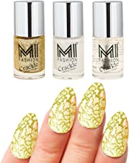 Mi Fashion Professional Long Stay Nail Polish, Crackle, Golden, Glitter Magic, 18ml (3 Pieces)
