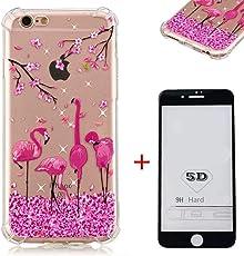 SHYHONG Kompatibel iPhone 6/6S Hülle+5D gehärtetem Glas Transparent TPU Silikon Handyhülle Flexibel Anti-Kratzer Vier Eckluftkissen Schutzhülle Anti-Shock Bumper Cover(Flamingo)