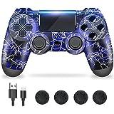 Zcity Controller PS4, PS4 Controller Wireless con Design a Forma di Fulmine, Doppia Vibrazione Gamepads PS4 Joystick Bluetoot
