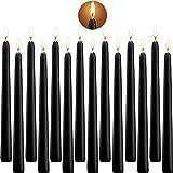 SaiXuan Velas Cónicas de Cera 10 Inch Candelabro Velas Dripless, Unscented Dinner Candle with Cotton Wicks, 14 Unidad Negras