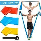 Kuyang Bandas Elasticas Fitness, 3 Piezas 1.5M/1.8M/2.0M Bandas de Resistencia con 3 Niveles, Cintas Elasticas Fitness para Y