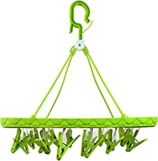 Chhote Saheb Plastic Foldable Hanger - Hanging Portable Clothes/Diaper Dryer Rack - Laundry Peg 20 Clip Kids Underwear Nappies Cloth Diaper Bibs Hanger (Green)