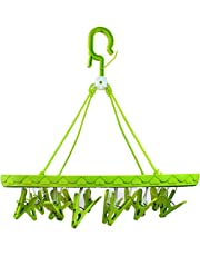 Teeny Weeny Plastic Foldable Hanger - Hanging Portable Clothes/Diaper Dryer Rack - Laundry Peg 20 Clip Kids Underwear Nappies Cloth Diaper Bibs Hanger (Colour May Vary)