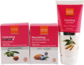 VLCC Anti Aging Night Cream, Day Cream and Face Wash Combo