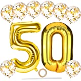 50e verjaardag ballonnen, grote 40 inch helium nummer 50 ballonnen met 12 inch gouden latex confettiballonnen/lint/stro, goud