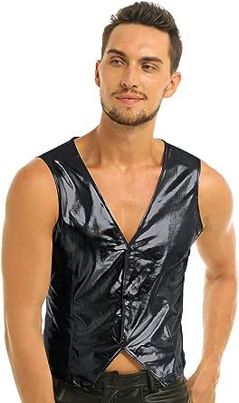 iiniim Men's Shiny Metallic PVC Leather Vest Waistcoat Tops MC Hammer Rapper Hip Pop Costume