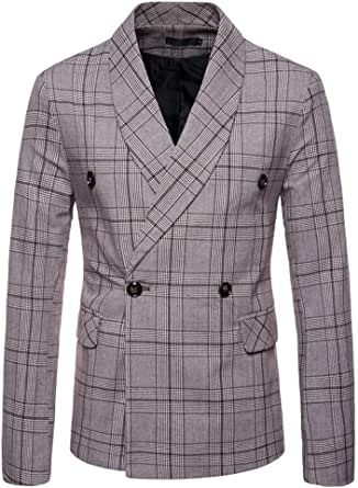 Mens Classic Blazer Party Wedding Jacket Suits Elegant Slim Fit Autumn Winter Checked Double-Breasted Vintage Retro Smart Formal Business Dinner Suits Jacket Waistcoat Size M-XXL