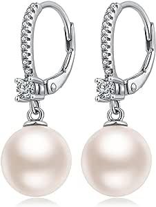 Jiahanzb Orecchini di Perle da Austria 10mm in Sterlina Argento 925 Anallergici Pendenti Orecchini i per Donna