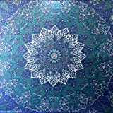 Craftozone Multicolor Mandala Indian Tapestry Wall Hanging, Sheet, Coverlet Nique Beach Sheet, Superior Quality Hippie Wall Tapestry or Bedspread in Organic Cotton (Blue Star, Double)