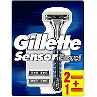Gillette SensorExcel Rasoio Uomo + 3 Lamette di Ricarica, Confezione da 3 Lamette di Ricarica di cui 1 Gratis