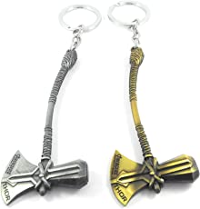 Generic Axe Avengers Infinity War 3 Thor Stormbreaker Hammer Antique Silver & Gold Metal Keychain(Set Of 2)