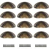 WJUAN 12 stuks Shell handvat lade handgrepen meubels handgrepen vintage antieke handgrepen halve cirkel met retro schroef, vo