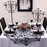 AerWo Décoration de Table Ronde en Dentelle pour fête d'Halloween, Noir, 100 cm, Dentelle en Polyester