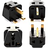 OREI India to UK, UAE, Hong Kong & More (Type G) Travel Adapter Plug - 2 in 1 - CE Certified - RoHS Compliant - 4 Pack - Blac