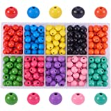 PandaHall Elite - 250-300pcs 10 Couleurs Perles en Bois Teint Perles Rondes 10mm pour la Fabrication de Bijoux, Trou: 3.5mm