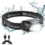 Cocoda Torcia Frontale, Lampada Frontale LED Ricaricabile con 5 modalità di Illuminazione, 200 Lumen, IPX4 Impermeabile, Rego