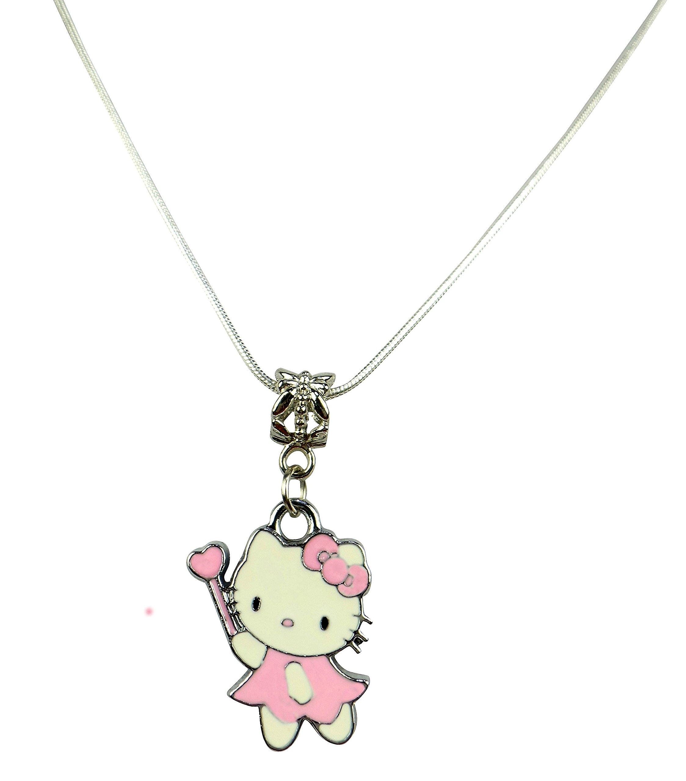 Beads R Us ® – Light Pink Enamel Hello Kitty Pendant on silver chain sizes 42cm, 46cm, 50cm, 60cm or 72cm available (72)