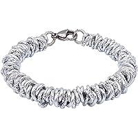 ParticolarModa Bracciale stile lucido diamantato martellato nodini intrecciato per donna in alluminio e acciaio Dorato…