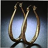 BYFRI Elegante Fill Oro Giallo 18k delle Donne della Vite prigioniera del Cerchio Orecchini Ovale Teardrop Grande Orecchini a