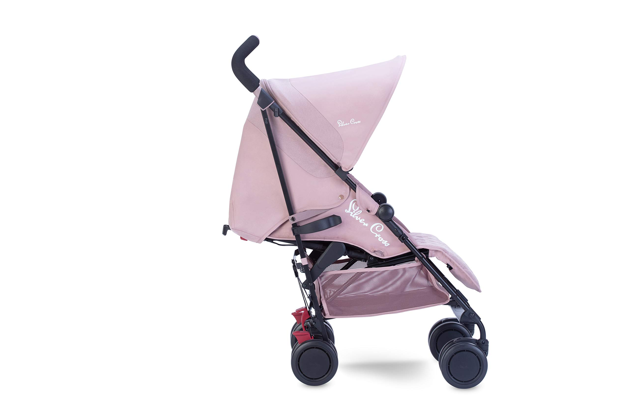 Silver Cross Pop Stroller, Compact and Lightweight Pushchair - Blush Silver Cross NEWBORN TO TODDLER: Suitable from birth up to toddlers (25kg), sitting upright to watch the world, or reclining to a lie-flat position WATER AND WIND RESISTANT: Ideal for all weather conditions to keep your baby warm and protected from wind and rain LIGHTWEIGHT AND COMPACT: Quick and easy one-handed fold feature with a carry handle for ease positioned on the side of the matte black chassis 2