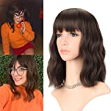 FAELBATY Wavy Wig Short Bob Wigs With Air Bangs Shoulder Length Women's Wig Curly Wavy Synthetic Cosplay Wig Pastel Bob…