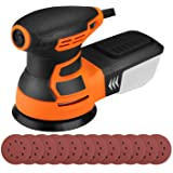 Orbital Sander 6 Variable Speed 350W 13000 RPM 125mm Sandpapers 3M Power Cord 12 Pcs Sandpapers, Efficient Dust Collector, Id
