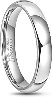 Crownal 4mm 6mm 8mm 10mm Tungsten Wedding Band Ring Men Women Plain Dome Polished Comfort Fit Size 3 To 17