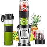 Mini Blender Multifonctionnel 500W, Yabano 3 en 1 Mixeur Smoothie Blender & Hachoir à Viande/Légumes & Moulin à Café/Graines/