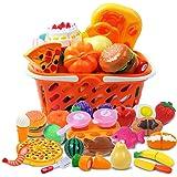 DigHealth 34 Piezas Alimentos de Juguete, Corte de Frutas y Alimentos Falsos, Cortar Frutas Verduras, Temprano Desarrollo Edu