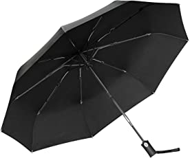 Regenschirm Gritin Taschenschirm Automatik schirm 9 Edelstahl-Rippen stetig windsicher bis 140 km/h Stabiler windsicher Leicht kompakt Auf-Zu-Automatik Tasche & Reise