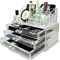 Kairos Acrylic Double Layer Jewellery and Cosmetic Storage Boxes, (3 Draw, Transparent)