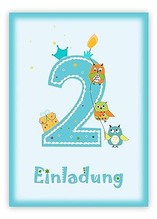 12 Einladungskarten Kindergeburtstag Zum 2. Geburtstag In Blau Mit Eulen    Geburtstagseinladung Mit Eule Für Jungs Kinder Party   Geburtstagsfeier: ...