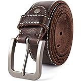 3ZHIYI Vintage Cinturón de piel de búfalo cuero 38 mm de ancho y aprox 4 mm de grueso, cinturón de los pantalones vaqueros de