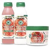 Garnier Fructis Hair Food Anguria Rivitalizzante, Kit con Shampoo, Balsamo e Maschera per Capelli Fini, 97% di Ingredienti di