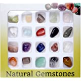 JSDDE Mineral Rock Variety Tumbled Rough Gemstone Meteorite Fragment Healing Energy Crystal Collection Box (20pcs…