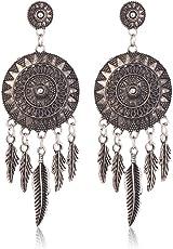 Shining Diva Fashion Jewellery Oxidized Silver Stylish Fancy Party Wear Traditional Earrings For Women & Girls Jewelry(Antique Silver)(9493er)