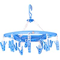 Sjeware Cloth Clip Hangerplasticclothes Pegs , Cloth Drying Stand Hanger With 24 Clips/Pegs, Baby Clothes Hanger Stand…