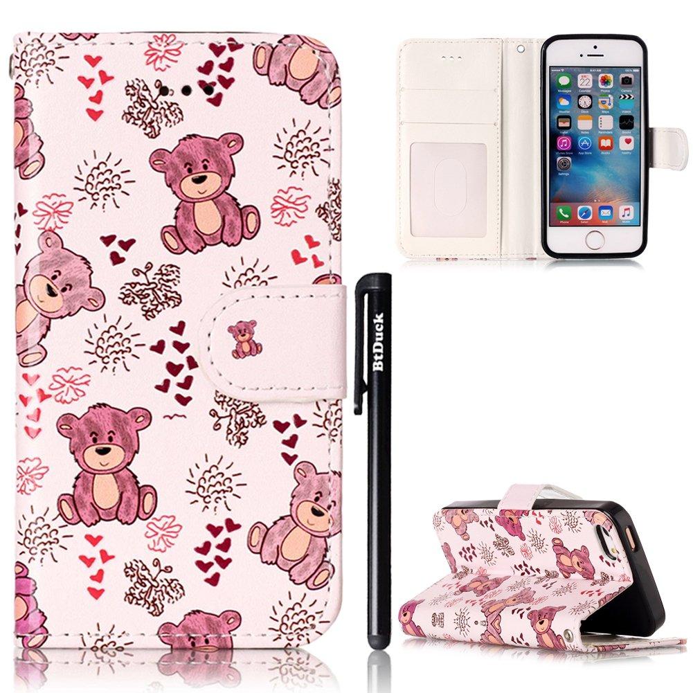 Cover per iPhone 5S Flip Libro,BtDuck Ultra Slim PU Pelle Borsa e Portafoglio Tasca Progettato Spec