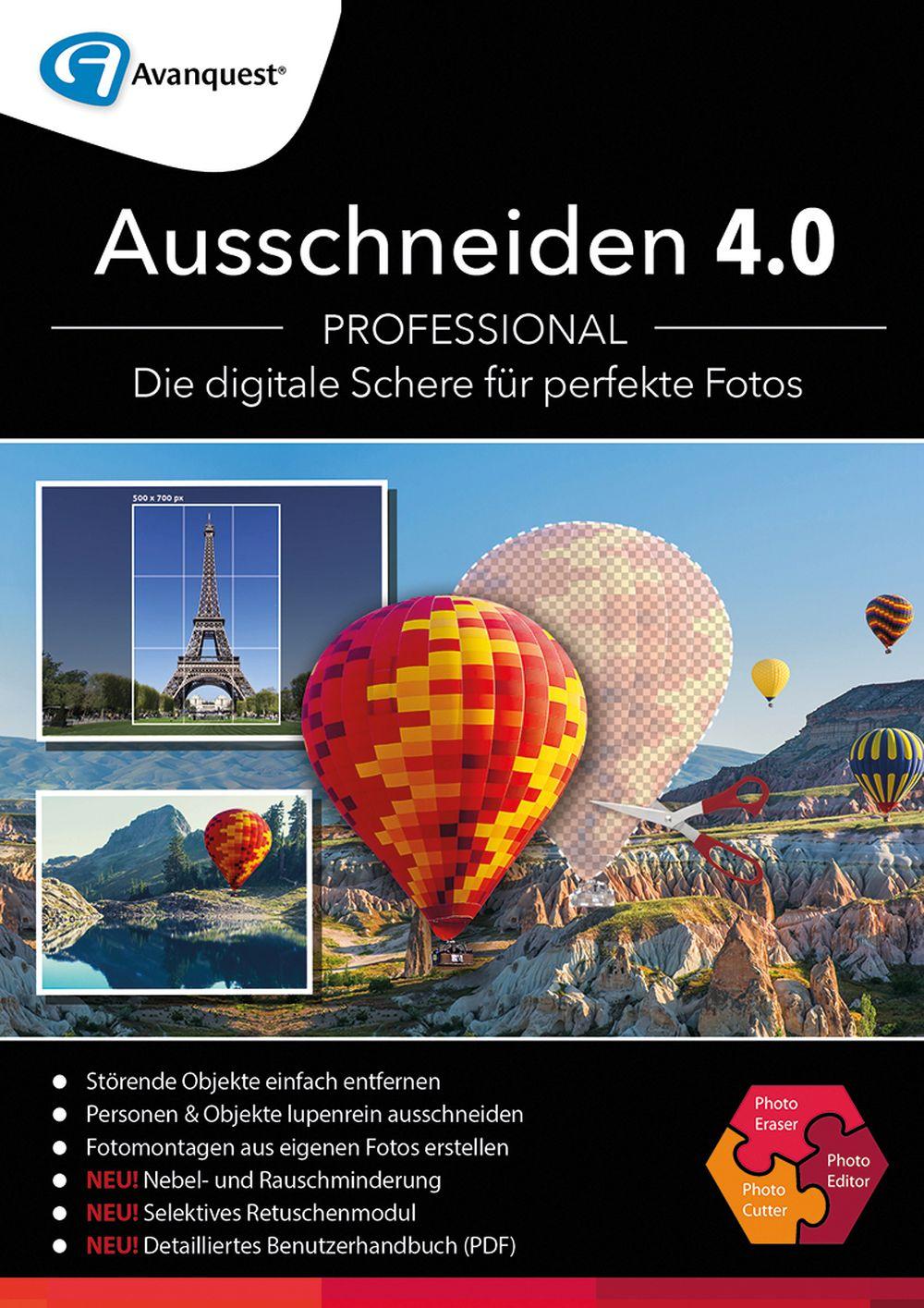 Ausschneiden 4.0 Professional - Bildbearbeitung, Freistellen, Fotomontage und digitaler Radierer! Windows 10|8|7 [Online Code]