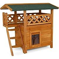lionto by dibea Maison pour chats lodge chats en bois cabane avec terrasse 77x53x72 cm Marron