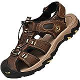 Lvptsh Sandalias Hombre Zapatillas de Senderismo Transpirable Peso Ligero Cuero Camper Deportivas Sandalias Al Aire Libre Pes