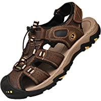 Lvptsh Men's Sports Outdoor Sandals Closed Toe Summer Beach Shoes Leather Casual Trekking Hiking Outdoor Sandals